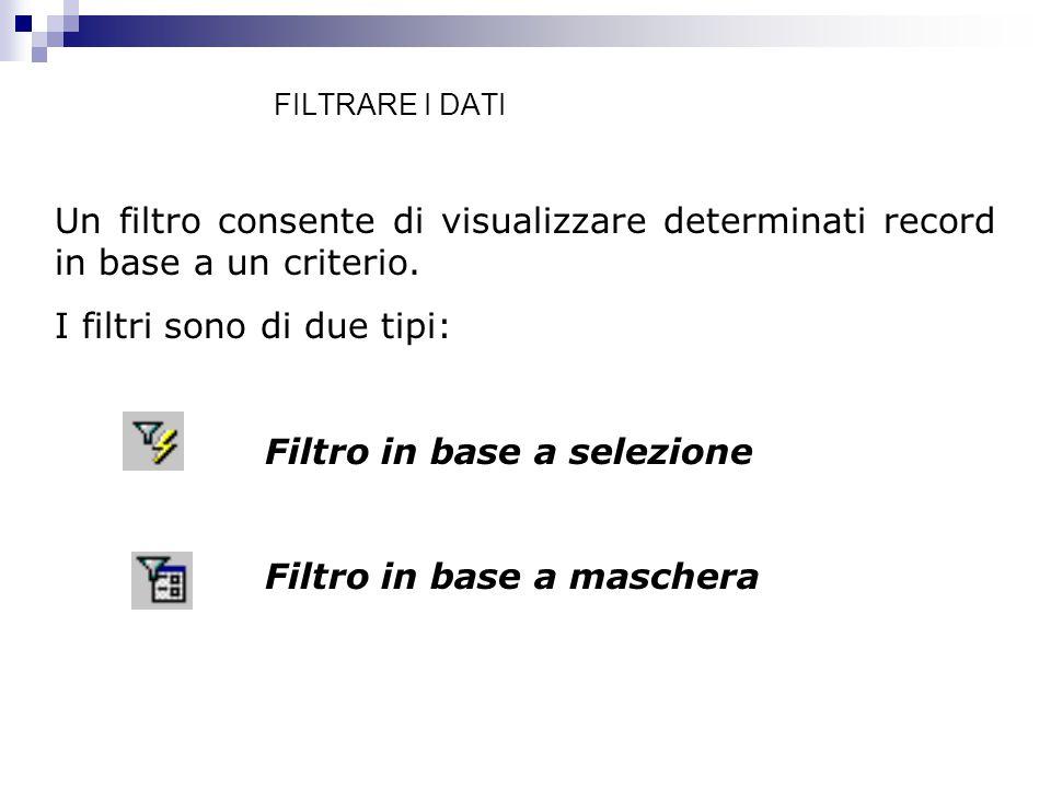 I filtri sono di due tipi: