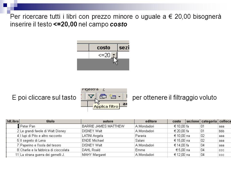 Per ricercare tutti i libri con prezzo minore o uguale a € 20,00 bisognerà inserire il testo <=20,00 nel campo costo