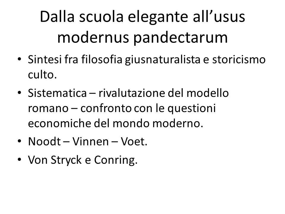 Dalla scuola elegante all'usus modernus pandectarum