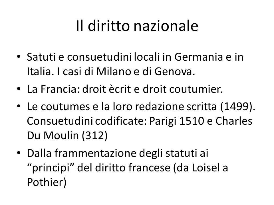 Il diritto nazionale Satuti e consuetudini locali in Germania e in Italia. I casi di Milano e di Genova.