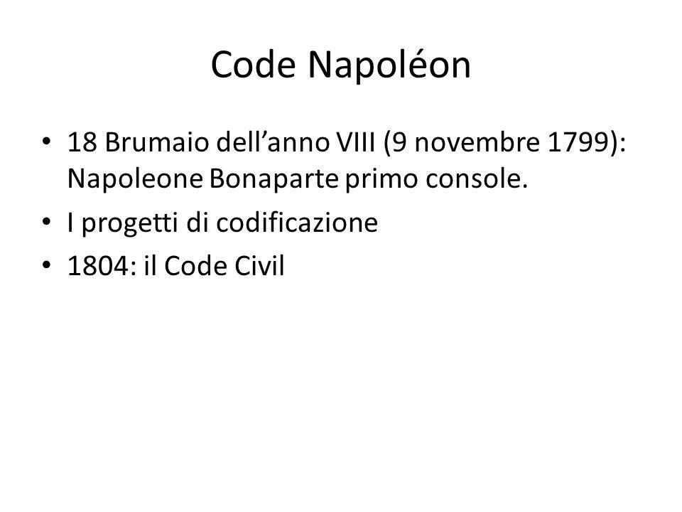 Code Napoléon 18 Brumaio dell'anno VIII (9 novembre 1799): Napoleone Bonaparte primo console. I progetti di codificazione.