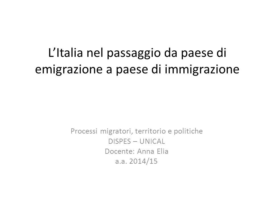 L'Italia nel passaggio da paese di emigrazione a paese di immigrazione