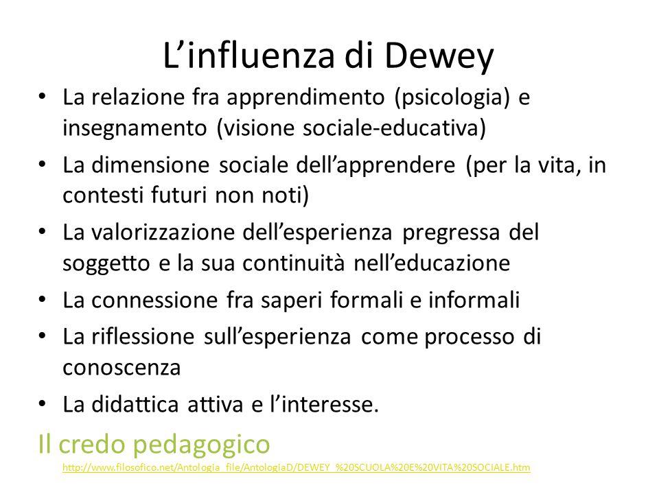L'influenza di Dewey La relazione fra apprendimento (psicologia) e insegnamento (visione sociale-educativa)