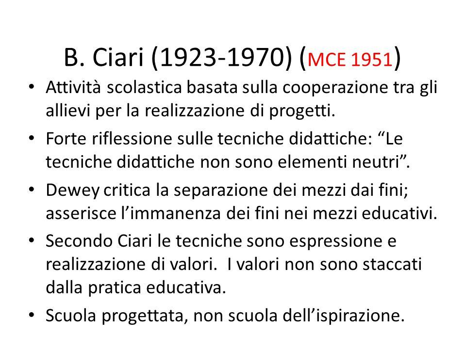 B. Ciari (1923-1970) (MCE 1951) Attività scolastica basata sulla cooperazione tra gli allievi per la realizzazione di progetti.