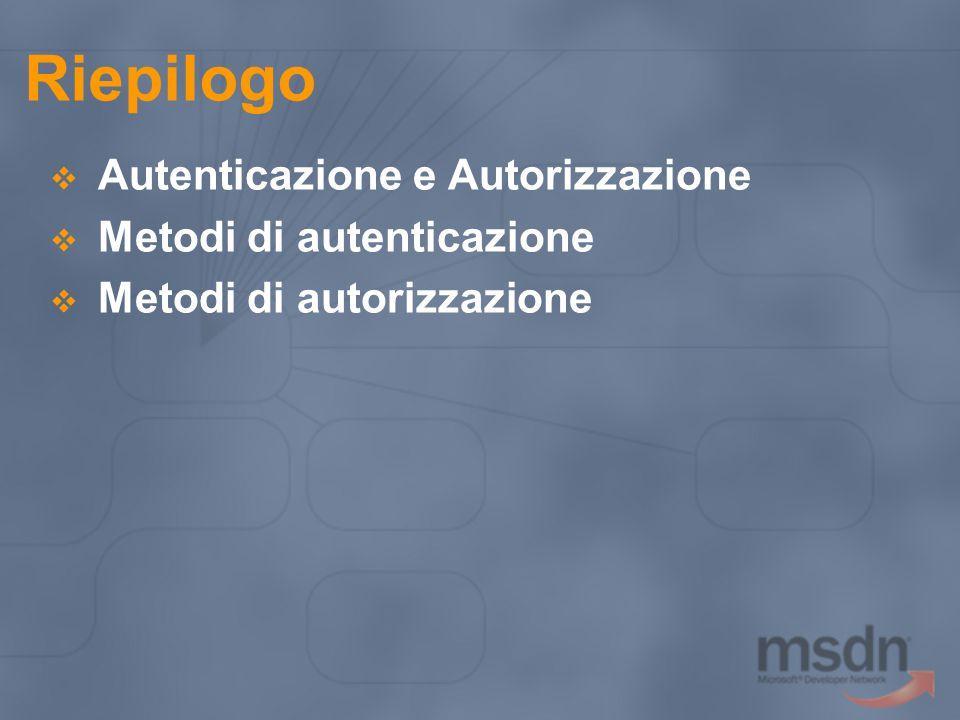 Riepilogo Autenticazione e Autorizzazione Metodi di autenticazione
