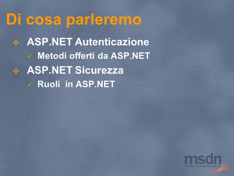 Di cosa parleremo ASP.NET Autenticazione ASP.NET Sicurezza