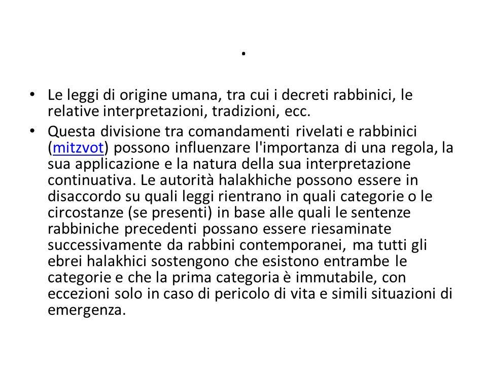 . Le leggi di origine umana, tra cui i decreti rabbinici, le relative interpretazioni, tradizioni, ecc.