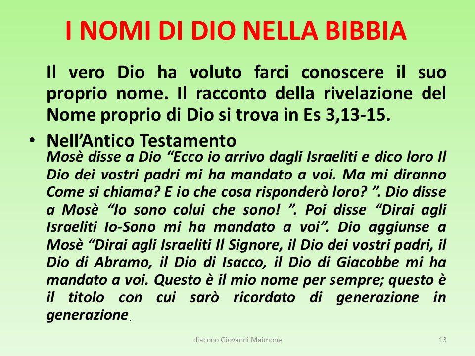 I NOMI DI DIO NELLA BIBBIA