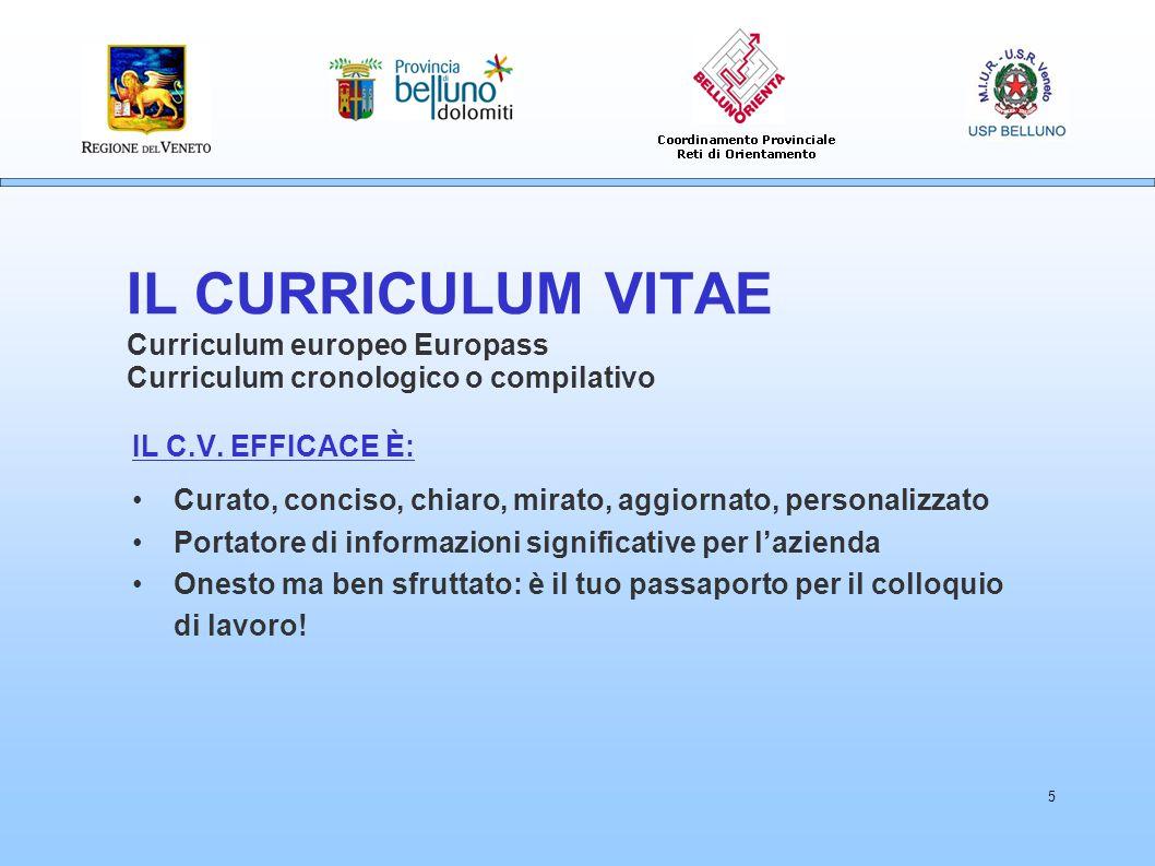 IL CURRICULUM VITAE Curriculum europeo Europass Curriculum cronologico o compilativo
