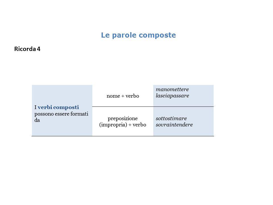 preposizione (impropria) + verbo