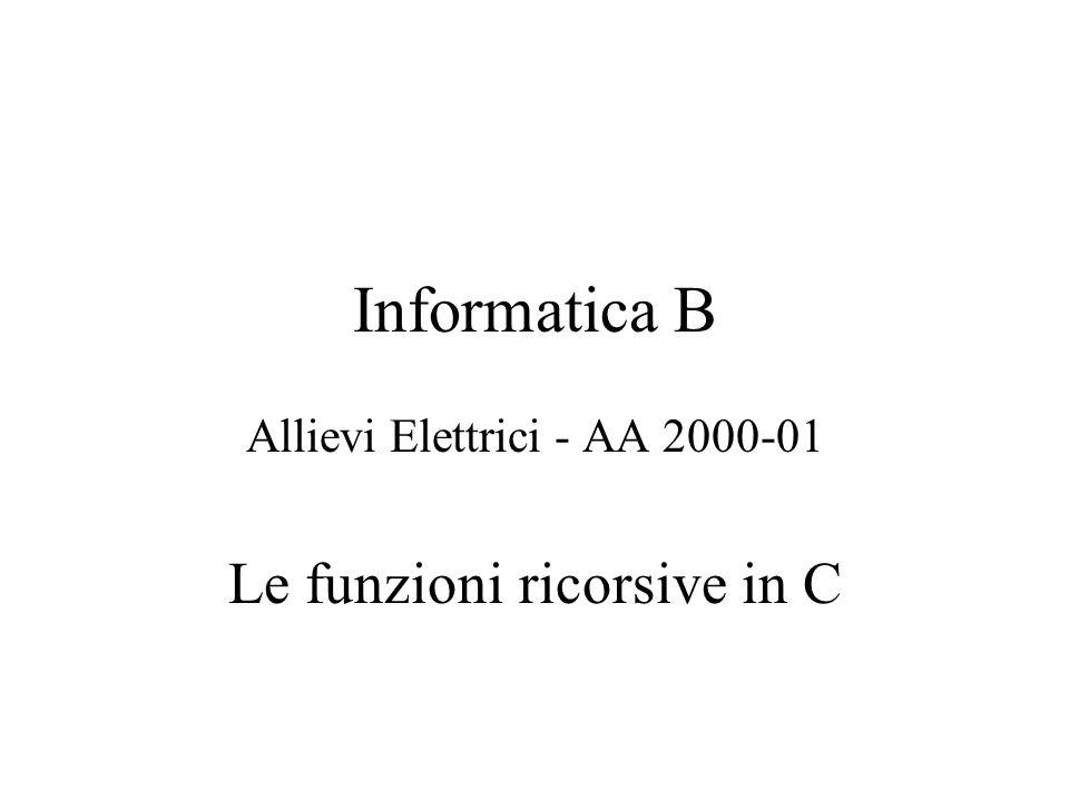 Allievi Elettrici - AA 2000-01 Le funzioni ricorsive in C