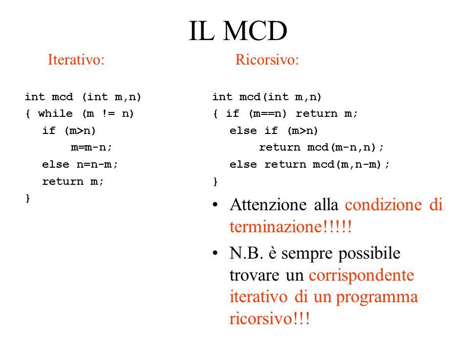 IL MCD Attenzione alla condizione di terminazione!!!!!