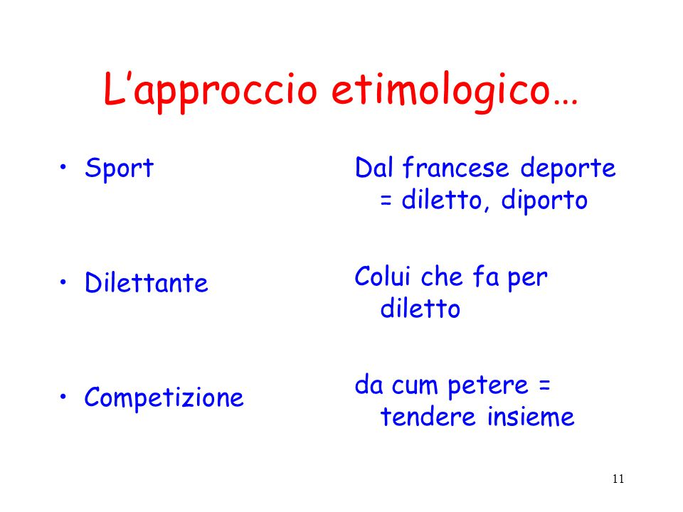 L'approccio etimologico…