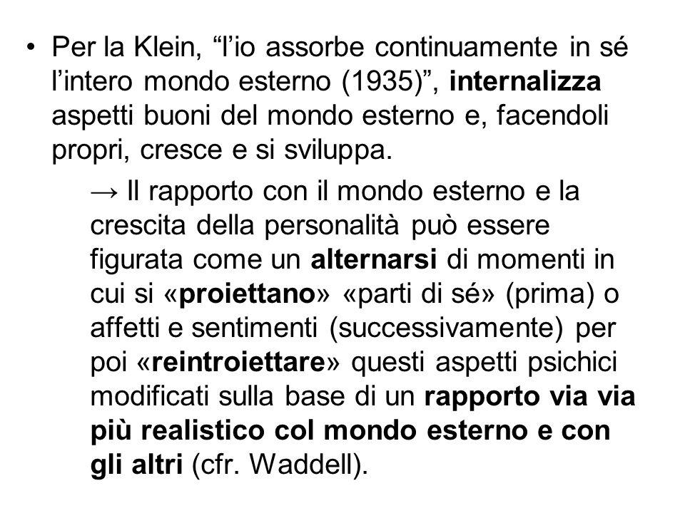 Per la Klein, l'io assorbe continuamente in sé l'intero mondo esterno (1935) , internalizza aspetti buoni del mondo esterno e, facendoli propri, cresce e si sviluppa.