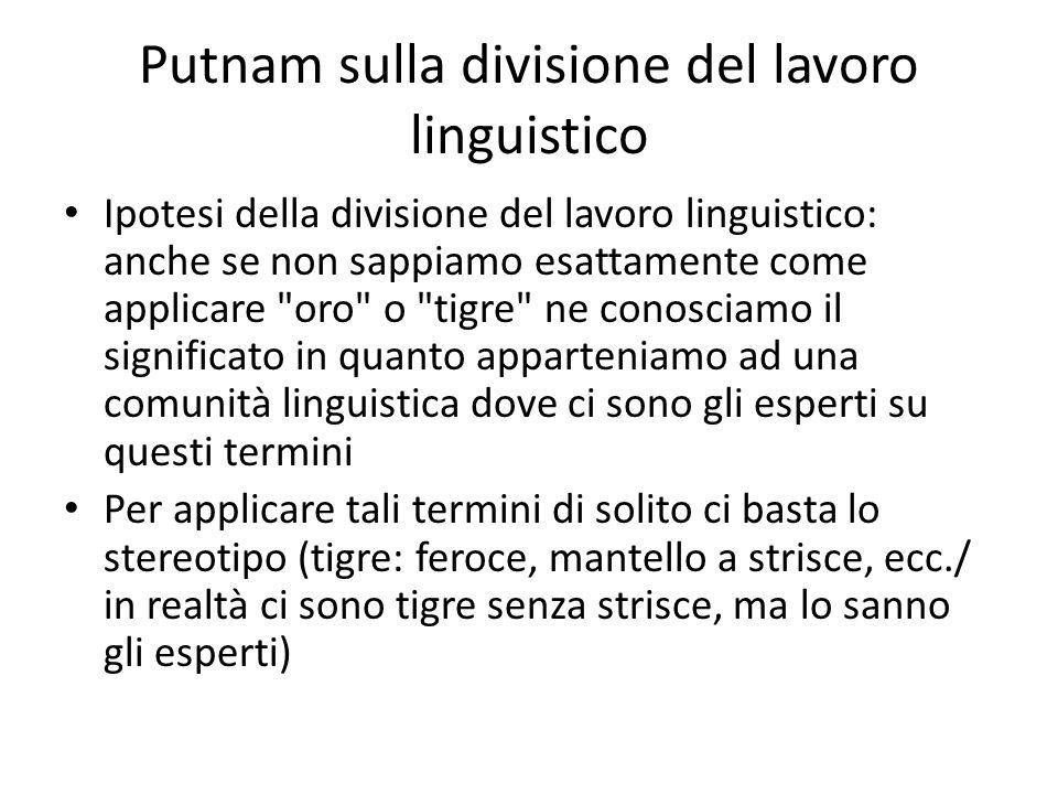 Putnam sulla divisione del lavoro linguistico