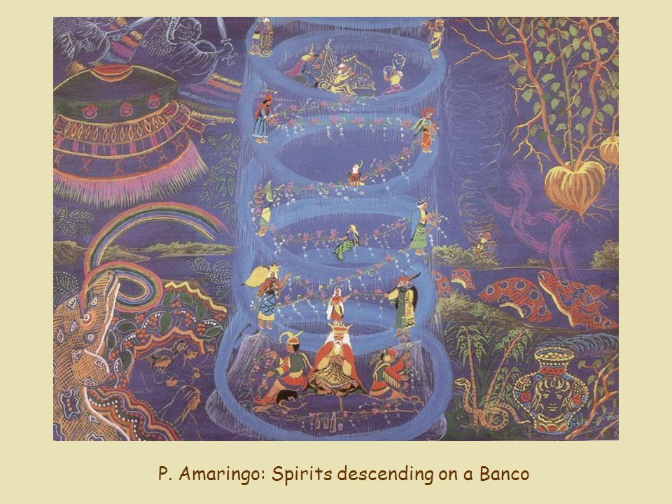 P. Amaringo: Spirits descending on a Banco