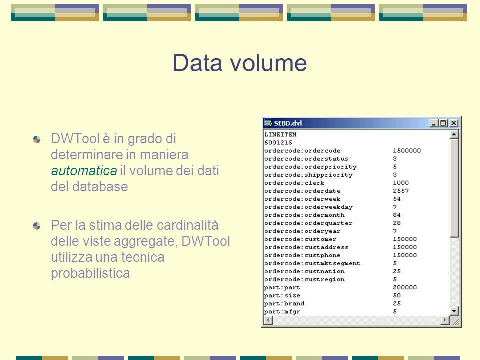 Data volume DWTool è in grado di determinare in maniera automatica il volume dei dati del database.