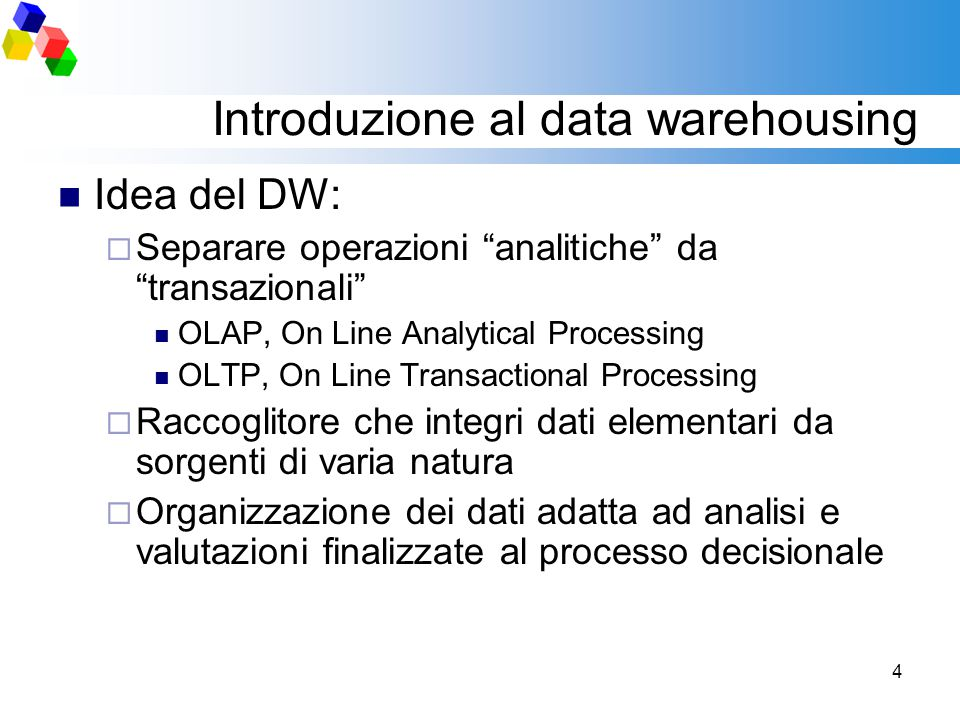Introduzione al data warehousing