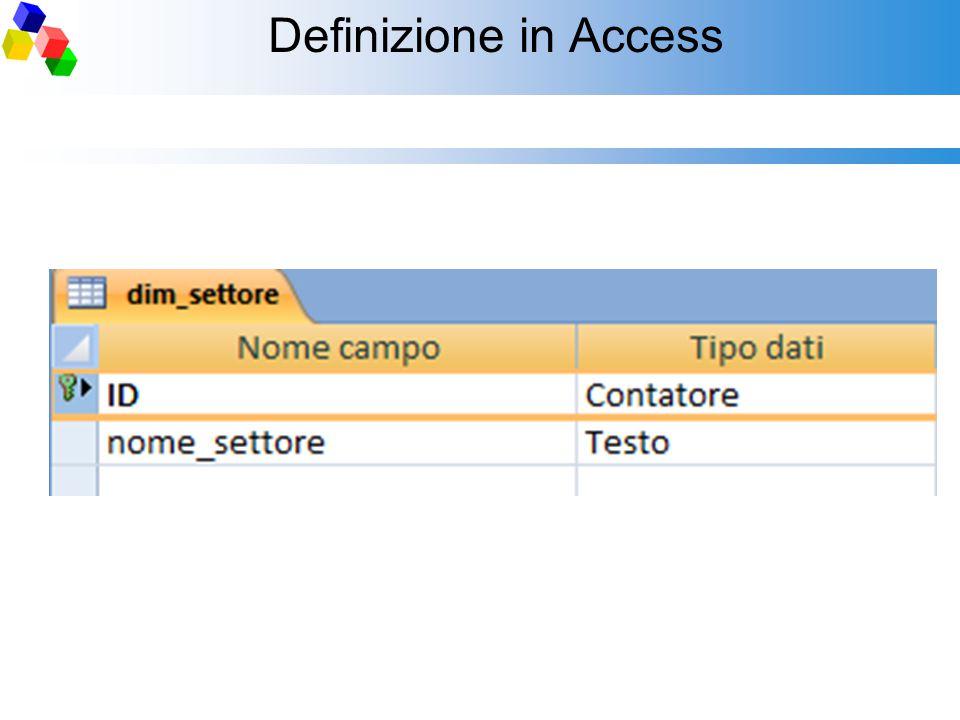 Definizione in Access