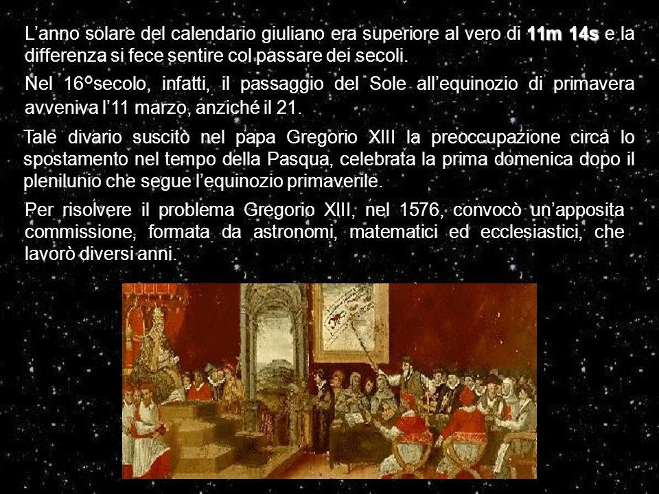 L'anno solare del calendario giuliano era superiore al vero di 11m 14s e la differenza si fece sentire col passare dei secoli.