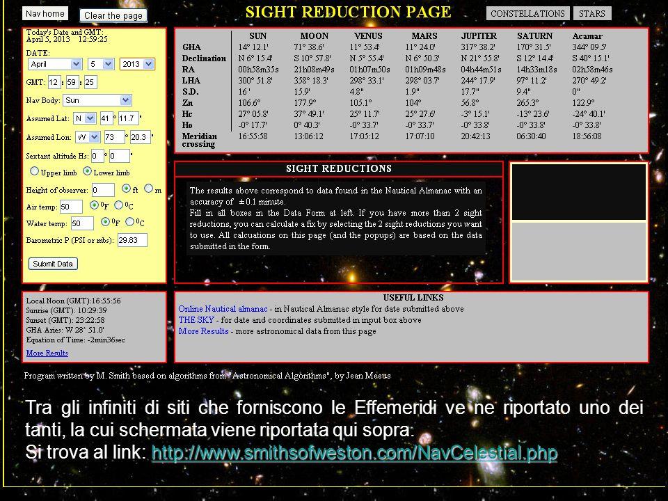 Tra gli infiniti di siti che forniscono le Effemeridi ve ne riportato uno dei tanti, la cui schermata viene riportata qui sopra.