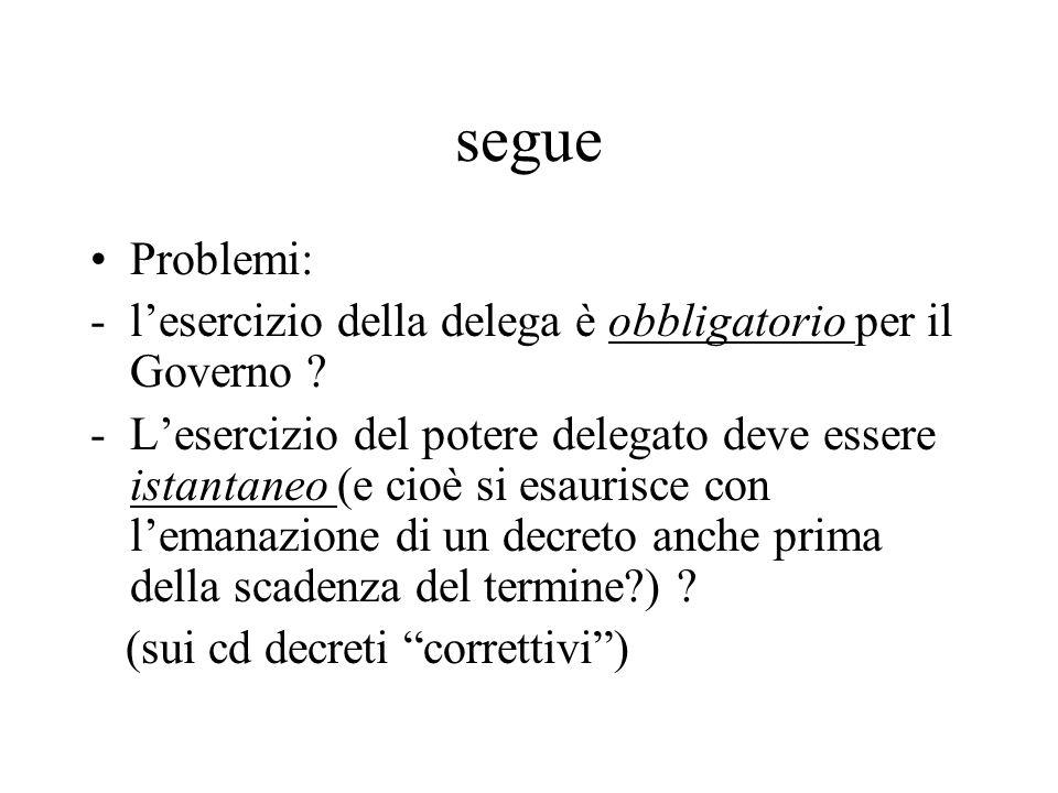 segue Problemi: l'esercizio della delega è obbligatorio per il Governo