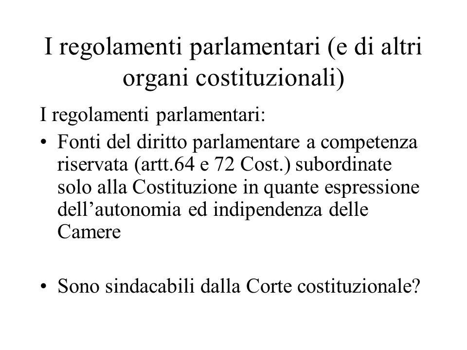I regolamenti parlamentari (e di altri organi costituzionali)