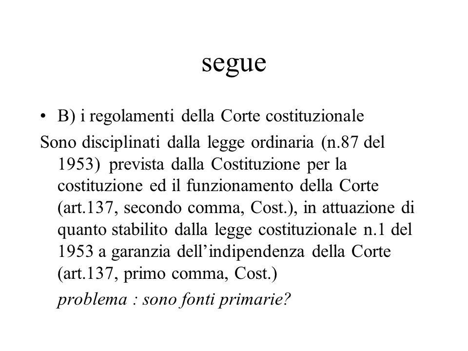 segue B) i regolamenti della Corte costituzionale