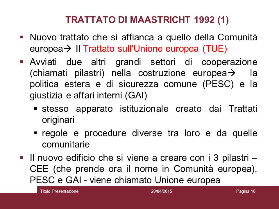 TRATTATO DI MAASTRICHT 1992 (1)