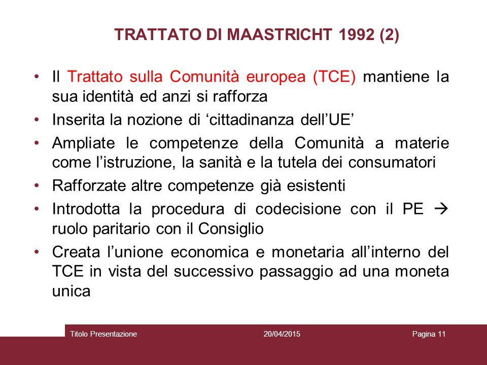 TRATTATO DI MAASTRICHT 1992 (2)