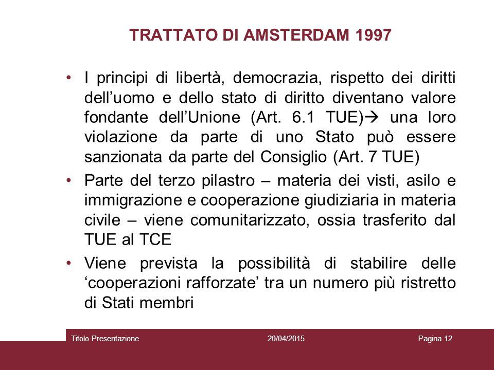 TRATTATO DI AMSTERDAM 1997