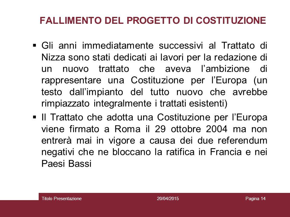 FALLIMENTO DEL PROGETTO DI COSTITUZIONE