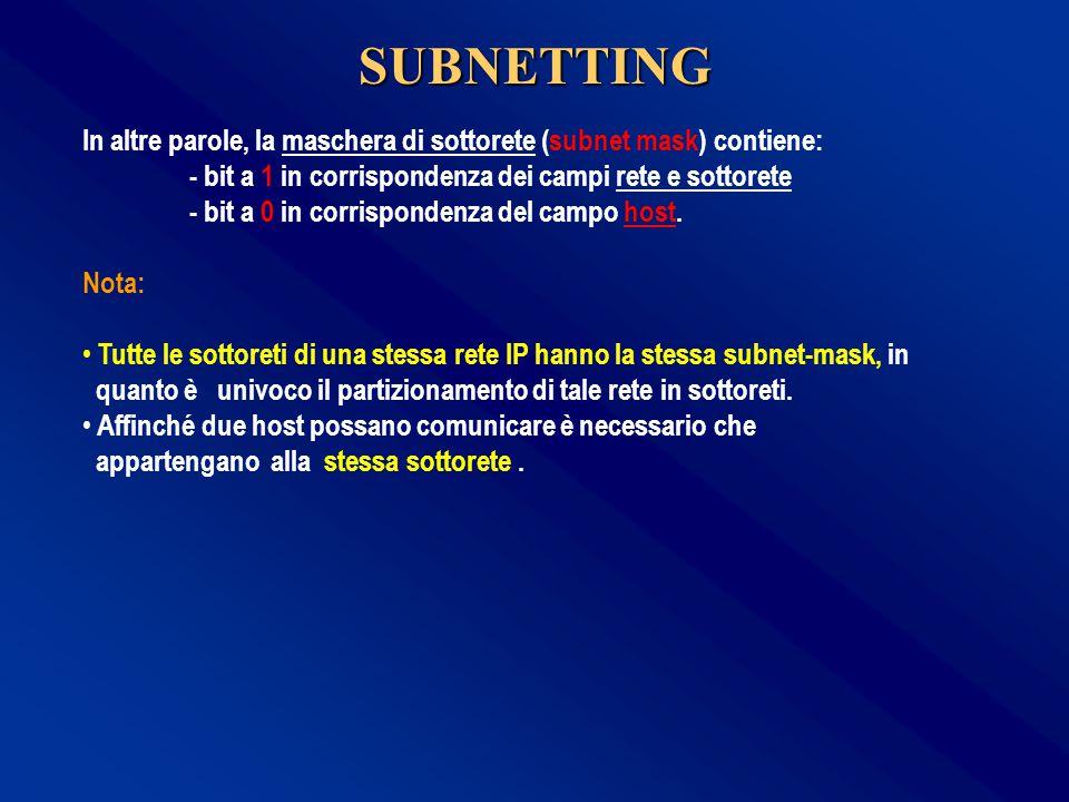 SUBNETTING In altre parole, la maschera di sottorete (subnet mask) contiene: - bit a 1 in corrispondenza dei campi rete e sottorete.