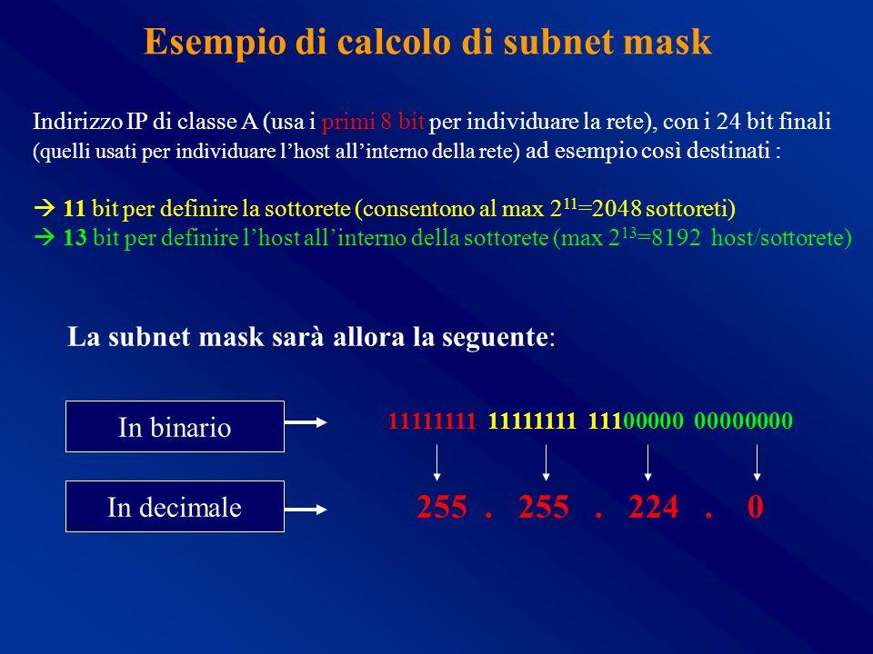 Esempio di calcolo di subnet mask