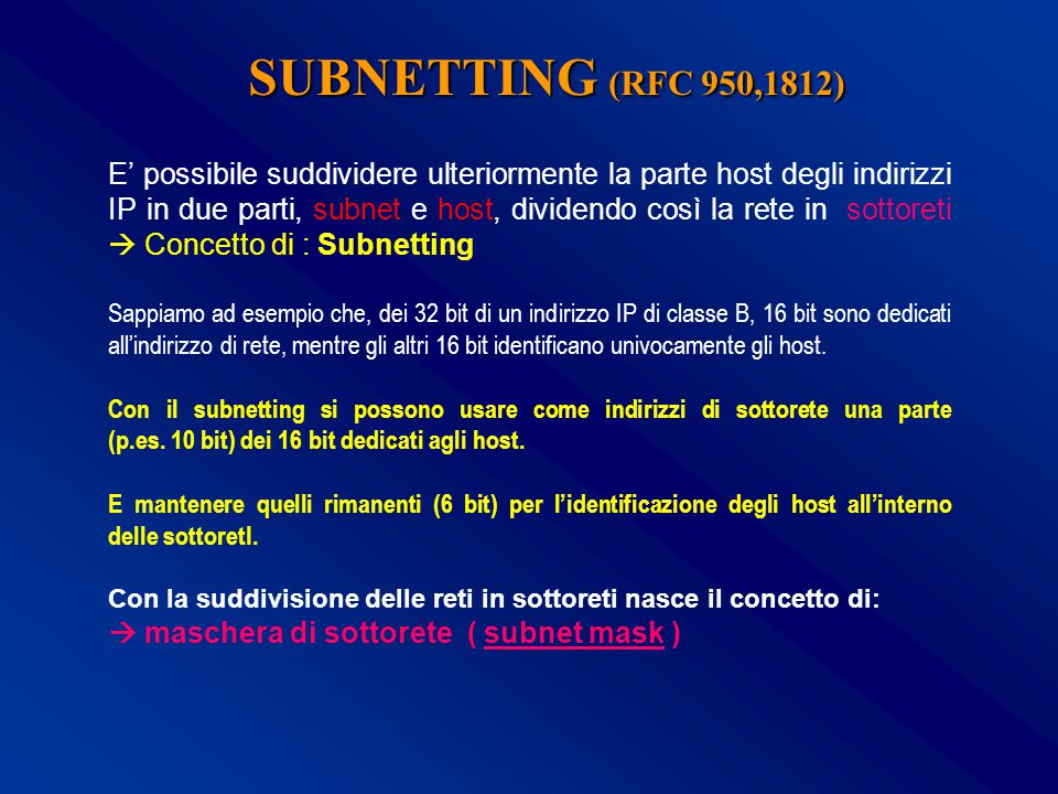 SUBNETTING (RFC 950,1812)