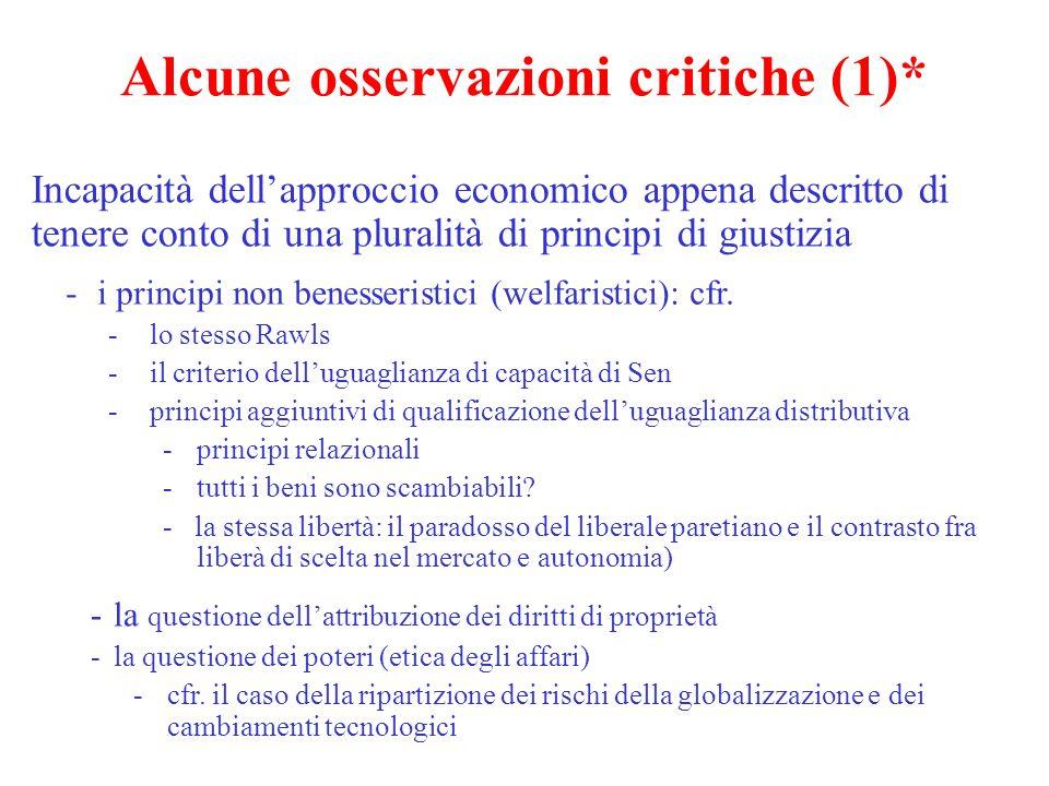 Alcune osservazioni critiche (1)*