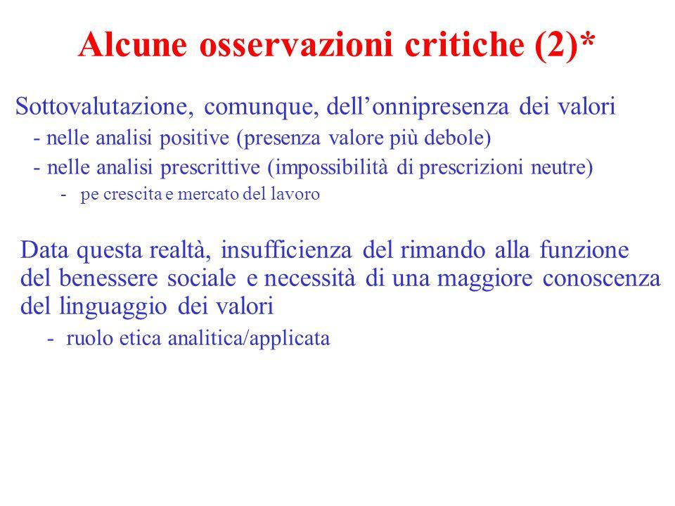 Alcune osservazioni critiche (2)*