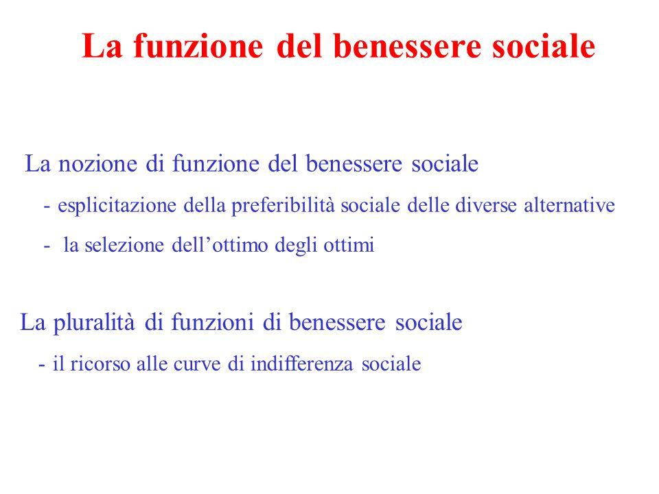 La funzione del benessere sociale