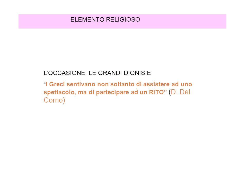 ELEMENTO RELIGIOSO L'OCCASIONE: LE GRANDI DIONISIE.