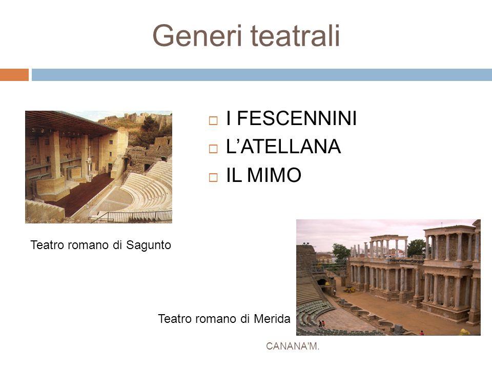 Generi teatrali I FESCENNINI L'ATELLANA IL MIMO