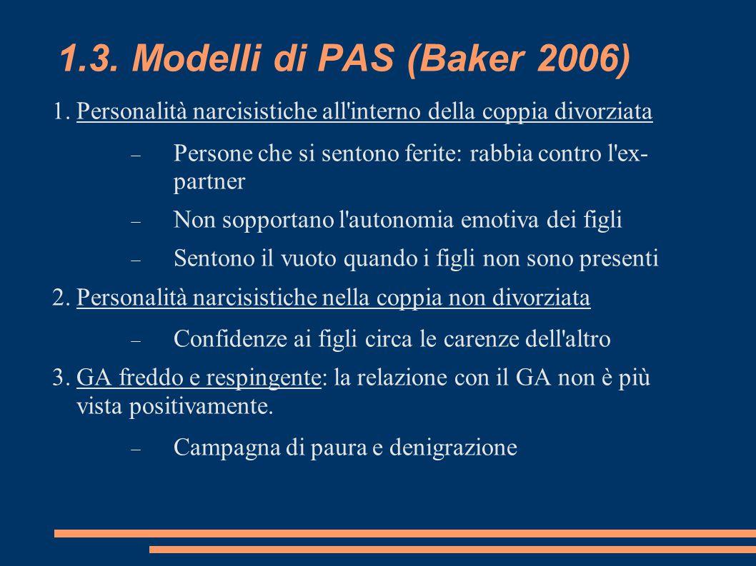 1.3. Modelli di PAS (Baker 2006) Personalità narcisistiche all interno della coppia divorziata.
