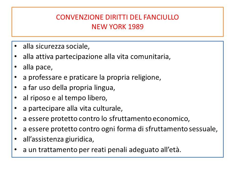 CONVENZIONE DIRITTI DEL FANCIULLO NEW YORK 1989