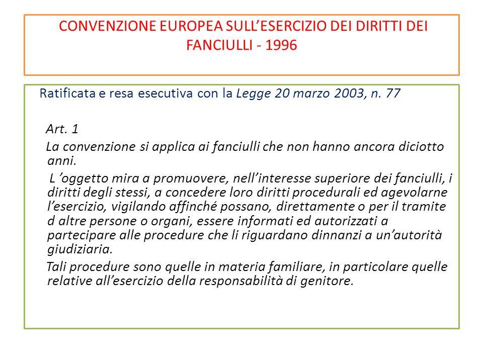 CONVENZIONE EUROPEA SULL'ESERCIZIO DEI DIRITTI DEI FANCIULLI - 1996