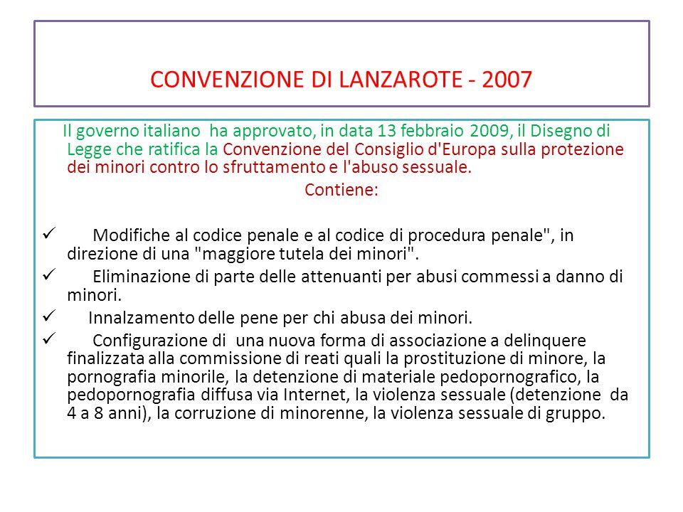 CONVENZIONE DI LANZAROTE - 2007