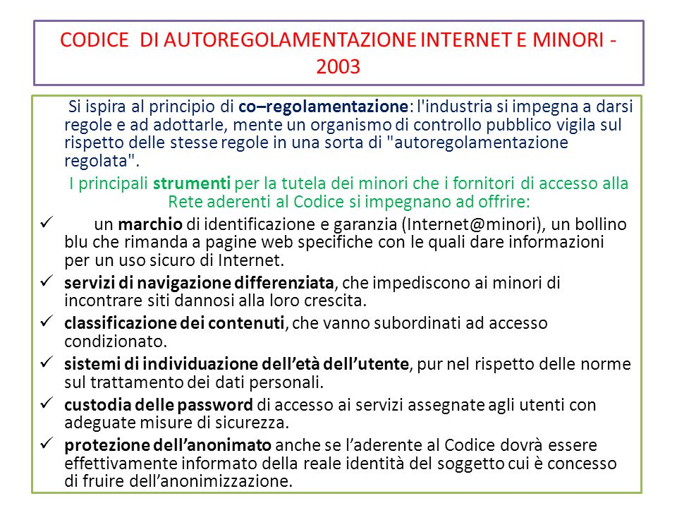 CODICE DI AUTOREGOLAMENTAZIONE INTERNET E MINORI - 2003