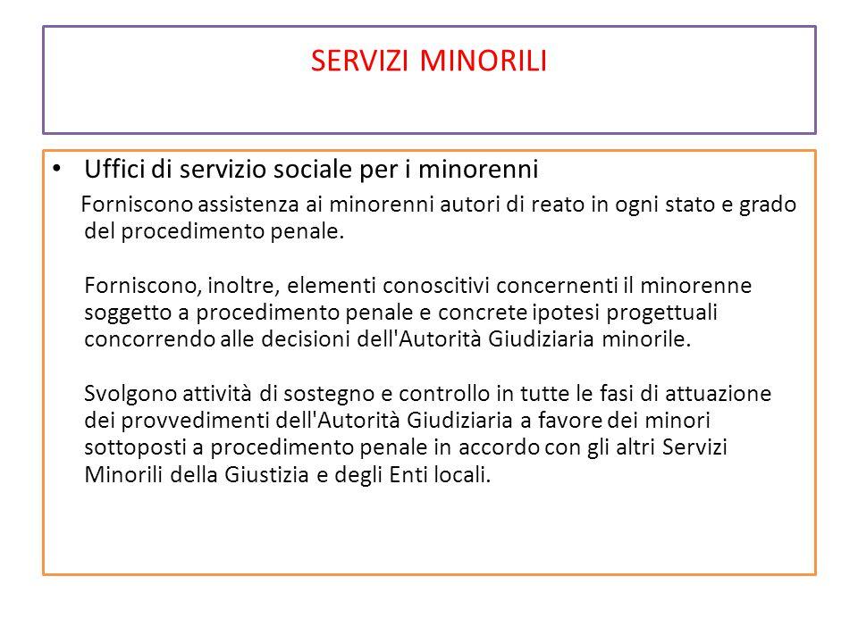 SERVIZI MINORILI Uffici di servizio sociale per i minorenni