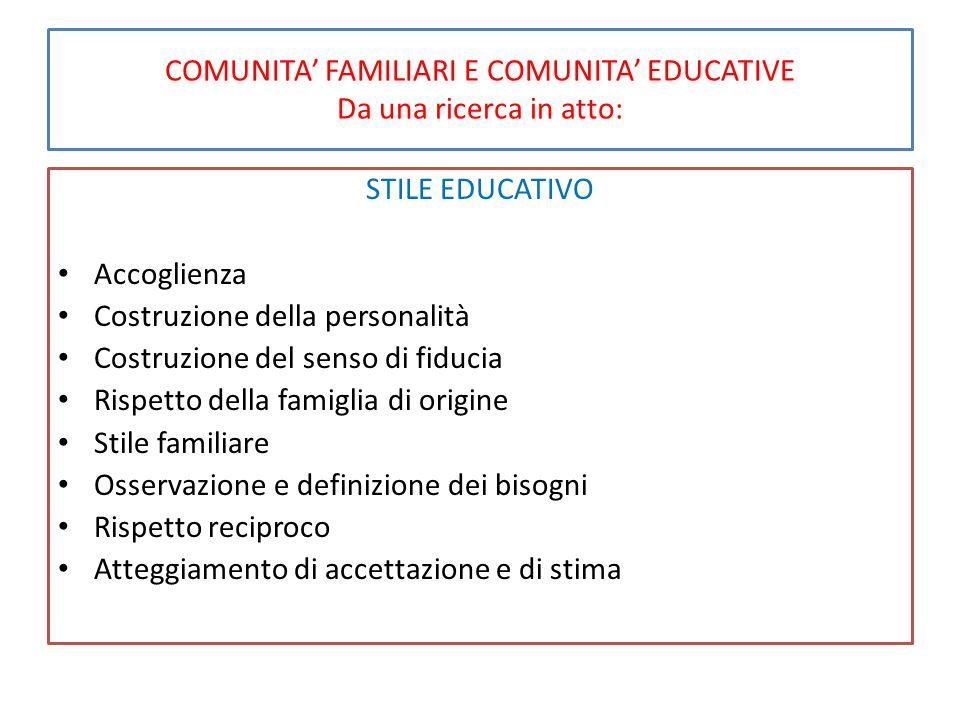 COMUNITA' FAMILIARI E COMUNITA' EDUCATIVE Da una ricerca in atto: