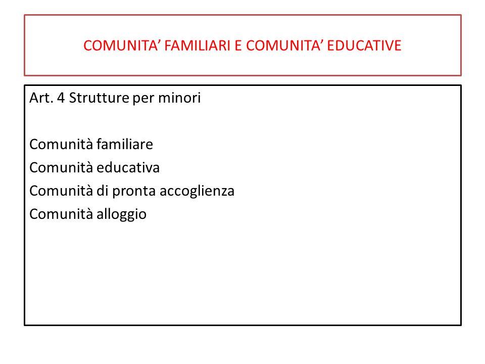 COMUNITA' FAMILIARI E COMUNITA' EDUCATIVE