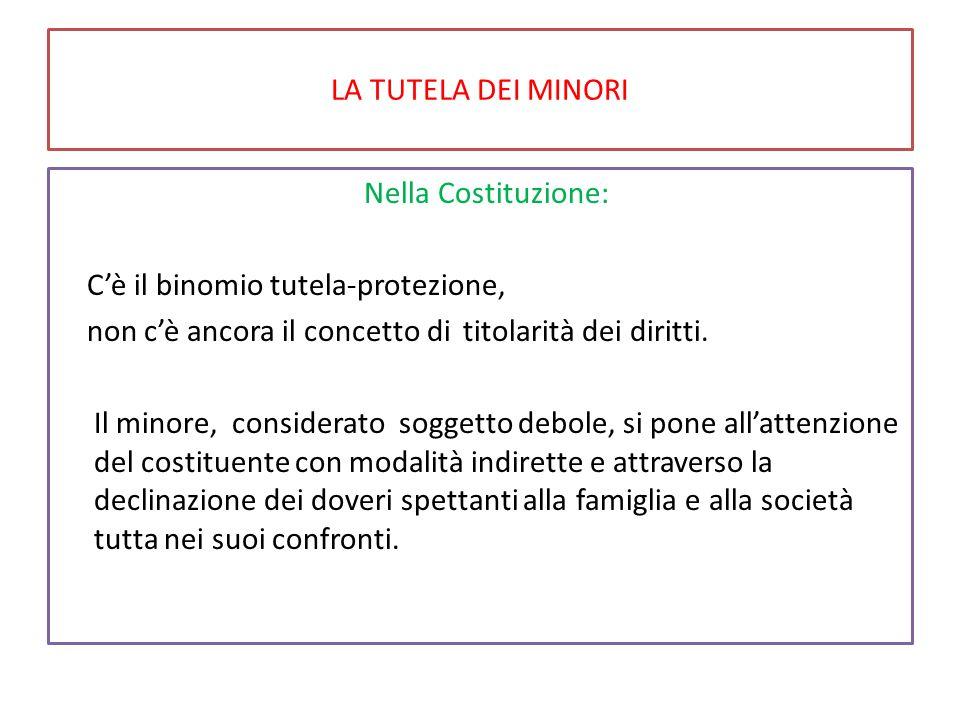 LA TUTELA DEI MINORI Nella Costituzione: C'è il binomio tutela-protezione, non c'è ancora il concetto di titolarità dei diritti.