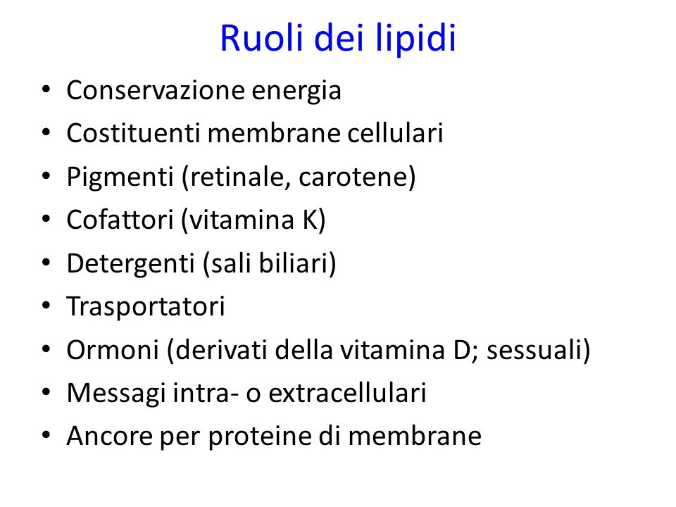 Ruoli dei lipidi Conservazione energia Costituenti membrane cellulari